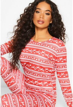 Womens Red Petite Christmas Fair Isle PJ Set