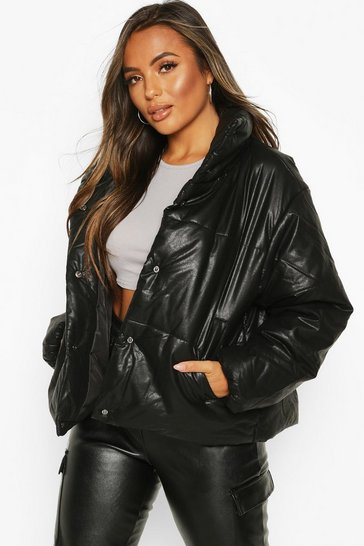 Black Petite PU Padded Jacket