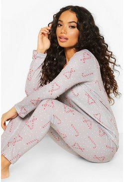 Light grey Petite Candy Cane Heart Print PJ Set