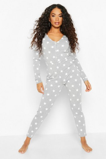 Grey Petite Star Print Button Up Onesie