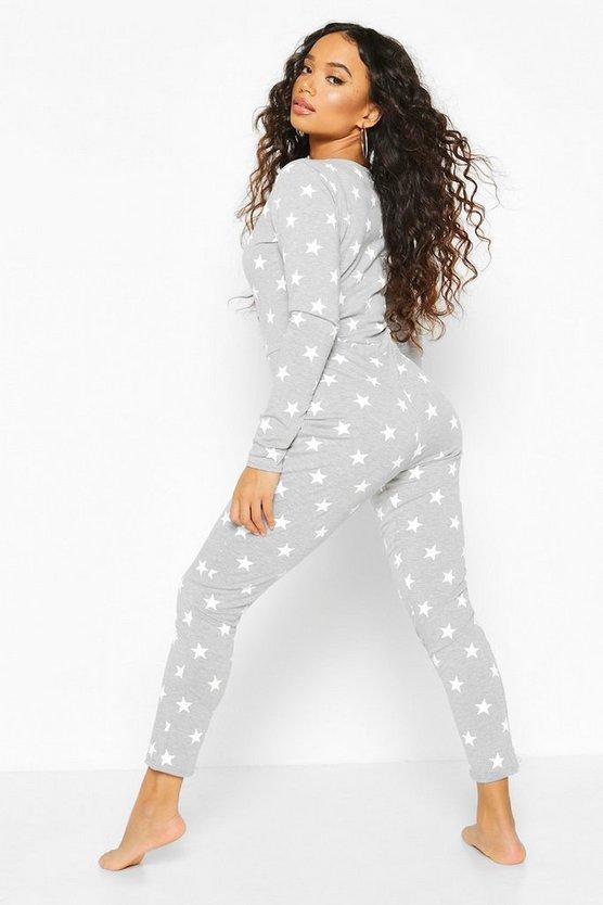 Petite Star Print Button Up Onesie