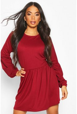 Berry Petite Volume Sleeve Smock Dress