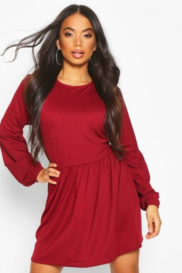 Womens Berry Petite Volume Sleeve Smock Dress