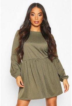 Khaki Petite Volume Sleeve Smock Dress
