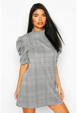 Black Petite Dogtooth Volume Sleeve High Neck Dress