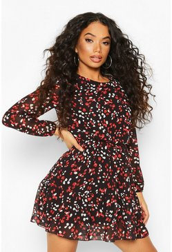 Black Petite Smudge Print Volume Sleeve Skater Dress