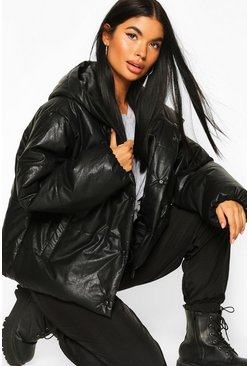 Womens Black Petite PU Puffer Jacket