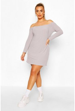 Grey Rib Long Sleeve off the shoulder Shift Dress