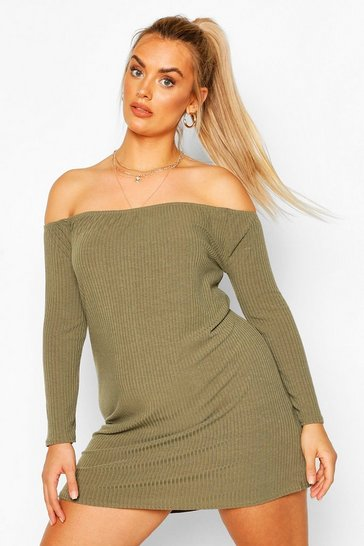 Khaki Rib Long Sleeve off the shoulder Shift Dress