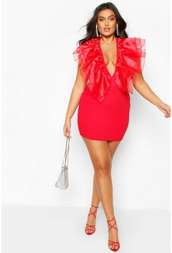Womens Red Plus Organza Ruffle Bodycon Dress