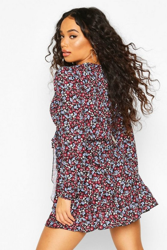 Petite Floral Woven Wrap Dress