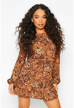 Womens Rust Petite Woven Leopard Print Frill Hem Skater Dress