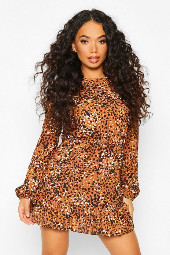 Petite Woven Leopard Print Frill Hem Skater Dress