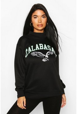 Black Petite Calabasas Slogan Funnel Neck Sweat Top