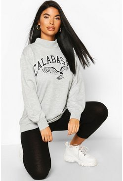 Grey Petite Calabasas Slogan Funnel Neck Sweat Top