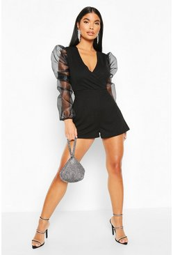 Petite Organza Sleeve Wrap Playsuit, Black