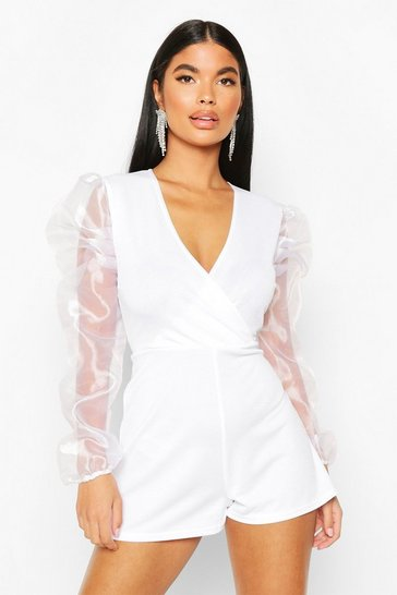 White Petite Organza Sleeve Wrap Playsuit