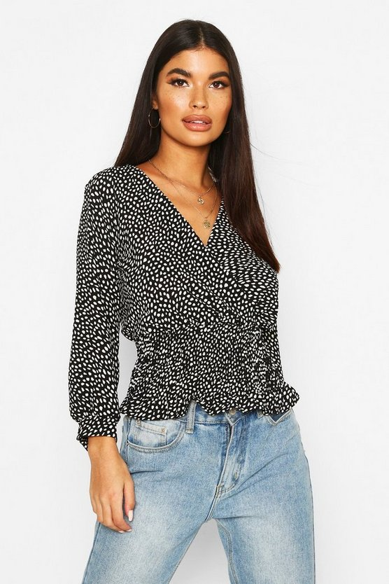 Black Petite Woven Smudge Print Shirred Wrap Top