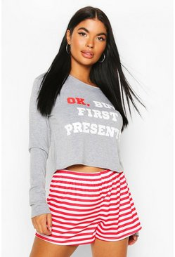 Grey Petite Christmas Slogan Shorts PJ Set