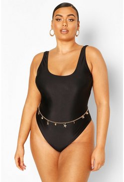 Black Plus Scoop Neck Swimsuit
