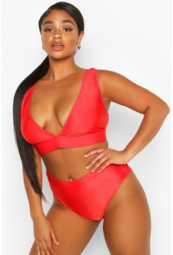 Red Plus Mix & Match Plunge Bikini Top