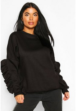 Petite Ruffle Detail Sweat, Black