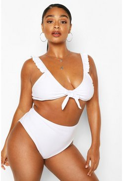 White Plus Ruffle Tie Front High Waist Bikini