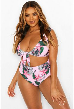 Pink Plus Tropical Tie Front High Waist Bikini