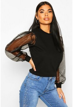 Black Petite Organza Sleeve Sweat Top
