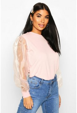 Petite Organza Sleeve Sweat Top, Blush, MUJER