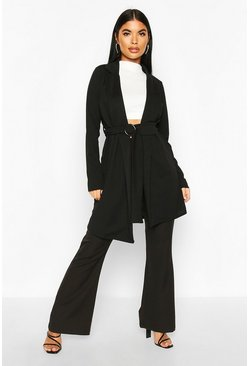 Womens Black Petite Belted Duster