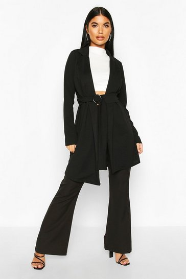 Black Petite Belted Duster