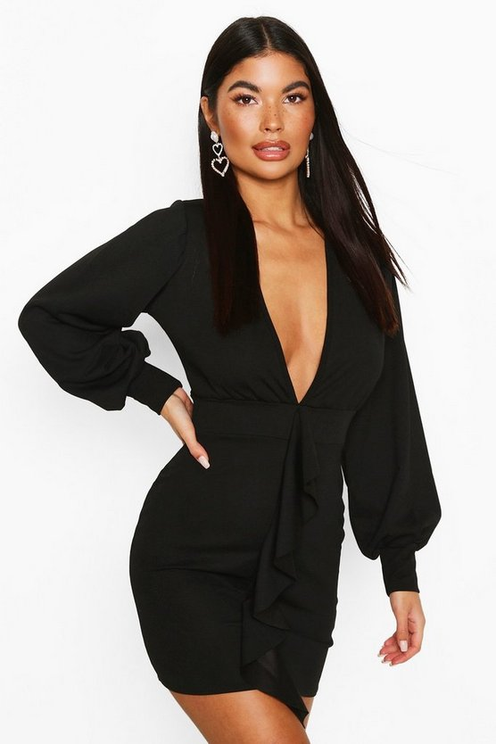 Black Petite Volume Sleeve Ruffle Detail Mini Dress