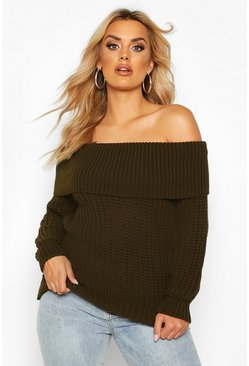Womens Khaki Plus Bardot Soft Knit Oversized Jumper