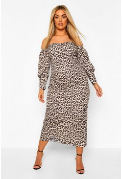 Brown Plus Leopard Print Satin Bardot Midi Dress