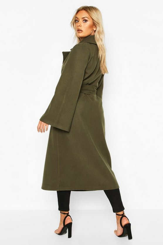 Plus Self Buckle Belt Wrap Wool Look Duster Coat