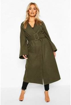 Plus Self Buckle Belt Wrap Wool Look Duster Coat, Khaki