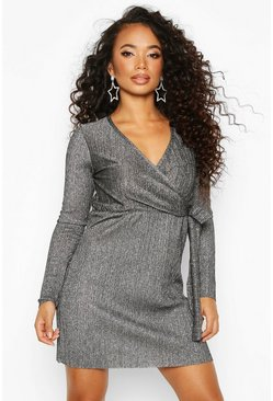 Petite Metallic Plissé Wrap Dress, Silver, Donna