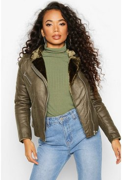 Womens Khaki Petite Faux Fur Lined Aviator Jacket