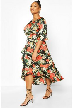 Plus Floral Wrap Ruffle Midi Dress, Black