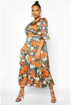 Plus Floral Wrap Ruffle Midi Dress, Teal