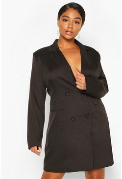 Black Plus Double Breasted Belted Blazer Dress