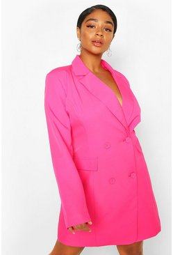 Hot pink Plus Double Breasted Belted Blazer Dress
