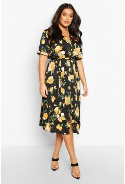 Black Plus Floral Satin Button Detail Midi Dress