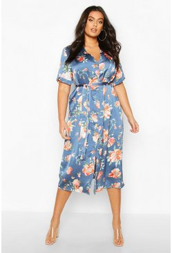 Slate blue Plus Floral Satin Button Detail Midi Dress