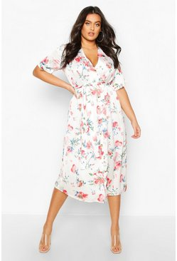 White Plus Floral Satin Button Detail Midi Dress