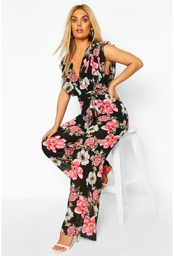 Black Plus Floral Ruffle Plunge Wide Leg Jumpsuit