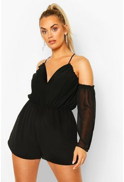 Black Plus Cold Shoulder Plunge Chiffon Playsuit