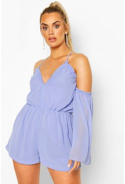 Blue Plus Cold Shoulder Plunge Chiffon Playsuit