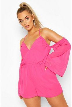Plus Cold Shoulder Plunge Chiffon Playsuit, Hot pink